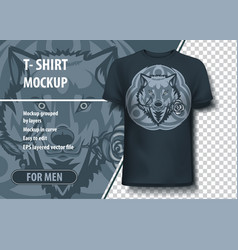 White wolf with a rose in mouth and with tribal vector