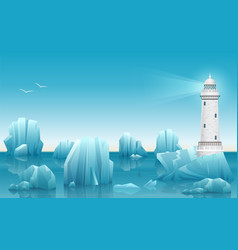 Winter landscape of lighthouse in the ice vector