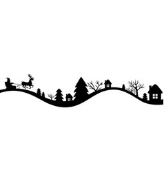 Winters landscape with santa sleigh vector