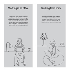 Working in office and from home vector