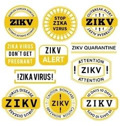 Yellow black and white Zika Virus stamps vector image