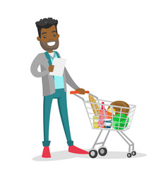 Young african-american man checking shopping list vector