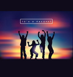 Young happy active people silhouettes and sunset vector