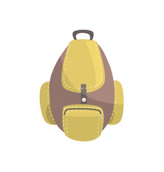 khaki and brown backpack classic styled rucksack vector image