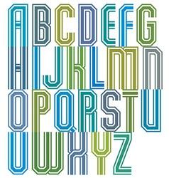 Retro stripe geometric font retro style typeface vector image vector image