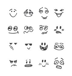 Set of hand drawn funny faces Happy faces vector image vector image