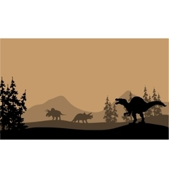 Silhouette of spinosaurus and Triceratops vector image vector image