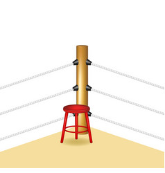 boxing corner with red wooden stool vector image vector image