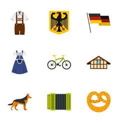 germany travel icons set flat style vector image vector image