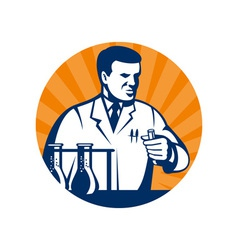 Scientist with laboratory apparatus test tube vector image
