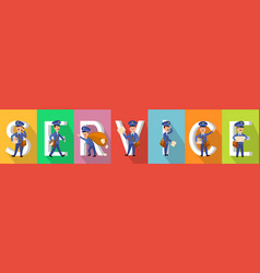 service poster in colours with working carriers vector image vector image
