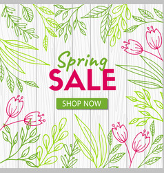 spring sale discount template on wood background vector image