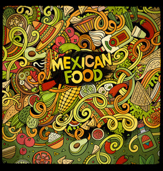 Cartoon mexican food doodles frame design vector