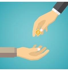 Hand giving golden coin to another hand vector image vector image