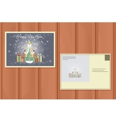 Holiday Postcard of a Cute snow Maiden vector image vector image
