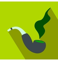 Smoking pipe flat icon vector image vector image