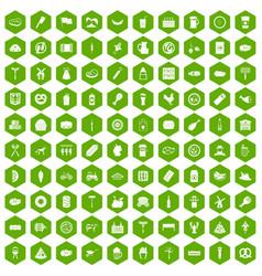 100 meat icons hexagon green vector