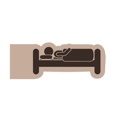 brown emblem sticker bed and person sleeping vector image