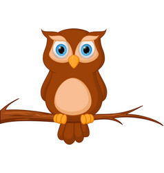 owl cartoon standing on tree vector image vector image