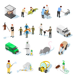 pest control isometric icons vector image vector image