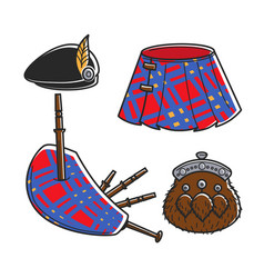 scot bagpipe musician traditional accessories vector image