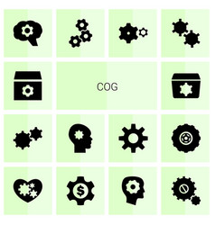 14 cog icons vector image