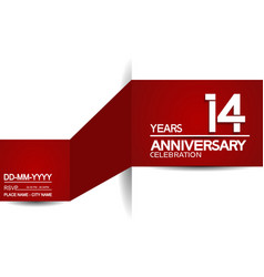 14 years anniversary design with red and white vector