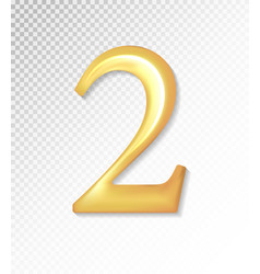 3d matt golden number collection - two 2 vector