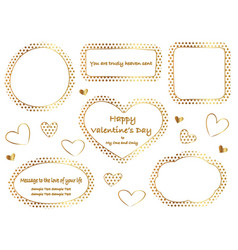 a set of gold polka dot message frames vector image