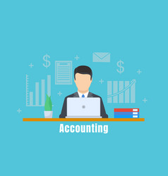 Accounting office man concept background flat vector