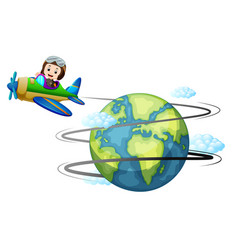 Airplane flying around the world vector