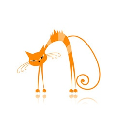Angry orange striped cat for your design vector image