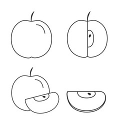 apple icons set in black flat outline design vector image