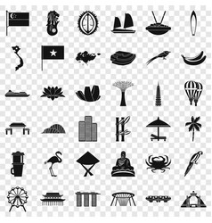 Asian landmark icons set simple style vector