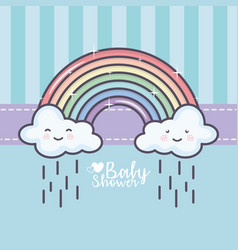 baby shower rainbow clouds rain drops decoration vector image