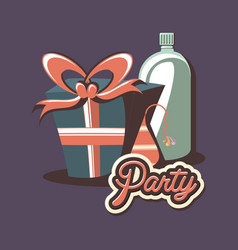 Birthday gift box and bottle beverage retro hat vector