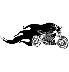 black silhouette motorcycle racing on fire vector image