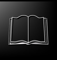 book sign gray 3d printed icon on black vector image