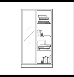 bookcase home furniture lineart design interior vector image