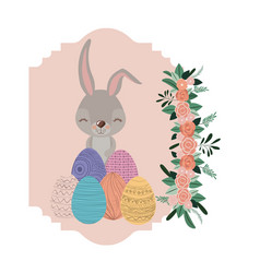 bunny in frame with easter eggs and ornament vector image