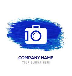 Camera icon - blue watercolor background vector