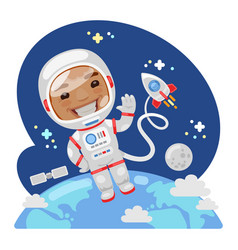 Cartoon astronaut in outer space vector