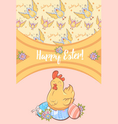 cartoon happy easter festive card vector image