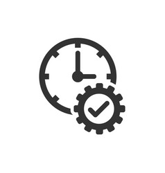 Check mark on clock icon in flat style gear with vector