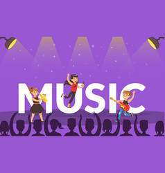 children playing music banner kids performing vector image
