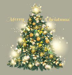 Christmas decorated tree with golden baubles vector
