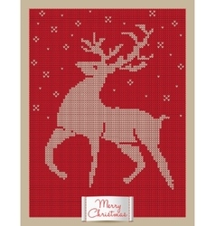 Christmas greeting card with knitted reindeer vector