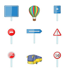 city street sign icon set cartoon style vector image