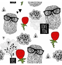 Clever owls seamless pattern on white background vector image