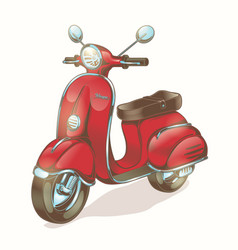 color red scooter moped vector image